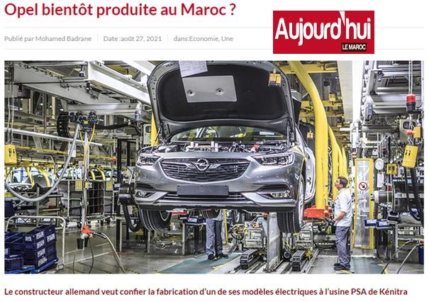 Opel bientôt produite au Maroc